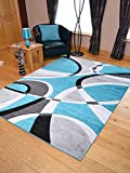 Super Verso Teal Blue Modern Hand Carved Dense Rug. Available in 6 sizes (160cm x 230cm) by Rugs Supermarket