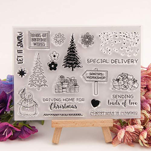 Seaskyer Christmas Tree Snowman Silicone Clear Stamp Seal DIY Scrapbook Embossing Album Decor Craft Art