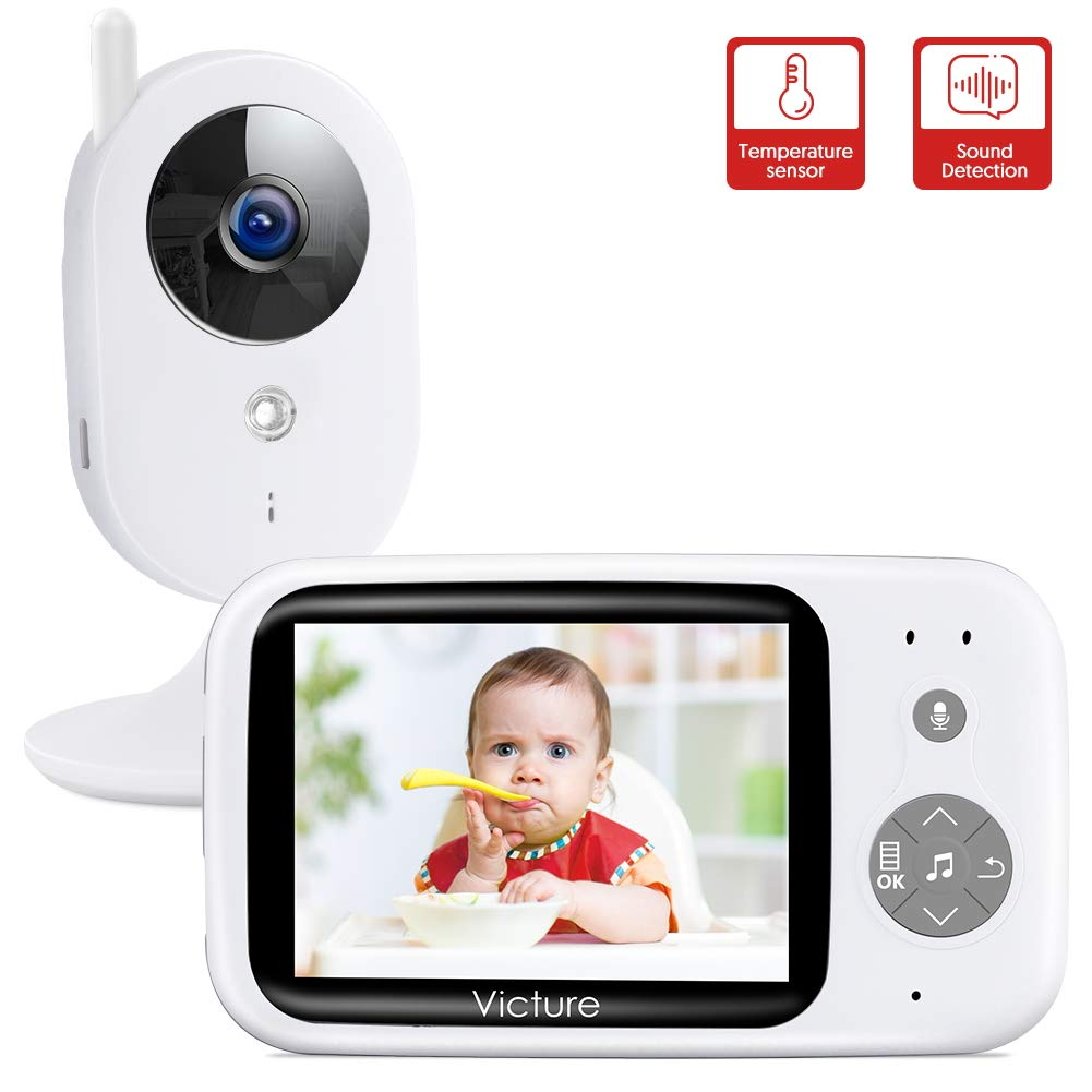 Victure Video Baby Monitor with Digital Camera and Infrared Night Vision 3.2 LCD Screen 2.4GHz Wireless Transmission Temperature Sensor Audio Two Way Talk VOX Auto Wake-up 8 Lullabies Long Range