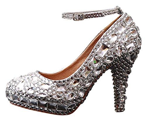 Miyoopark LL115 Women's Ankle Strap with Rhinestone Bridal Bridesmaid Pumps Wedding Evening Pumps Bridesmaid Shoes B01JLZL11G Shoes 259681