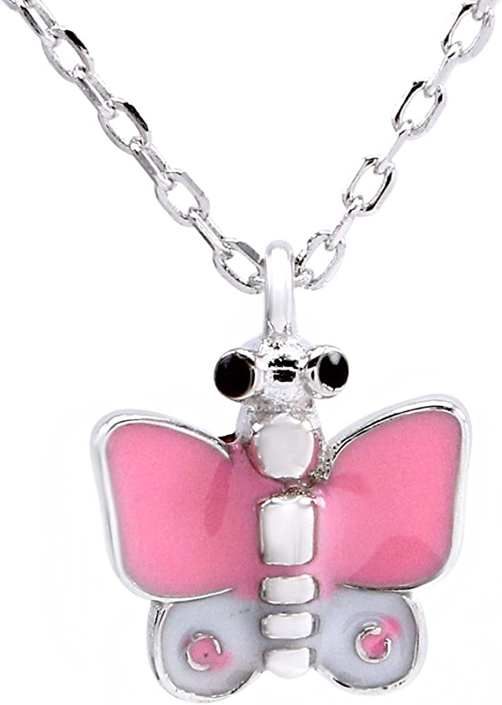 AFFY Jewelry Multi Color Enamel Butterfly Charm Pendant Necklace in 925 Sterling Silver