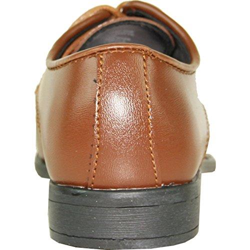 Allure Mens Boy Dress Shoe Al01kid Ruga Smoking Gratuito Per Prom E Eventi Formali Marrone