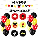 BeYumi Mickey Mouse Party Decoration Kit – Mickey Creatures Paper Fans, Happy Birthday Banner and Garland, Colorful Balloons, Mickey Themed Party Ideas for Kids Birthday, 1st Birthday and Baby Shower Party