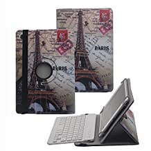 "Tsmine Acer Iconia One 10 (B3-A30) 10.1"" Bluetooth Keyboard Rotating Case - Universal Detachable 360 Degree Wireless keyboard Cover [NOT include Tablet] for Acer B3-A30 Tablet, Eiffel Tower/White"