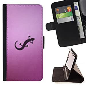 DEVIL CASE - FOR Samsung Galaxy S3 III I9300 - Lizzard Small Purple Art Shadow Reptile Drawing - Style PU Leather Case Wallet Flip Stand Flap Closure Cover