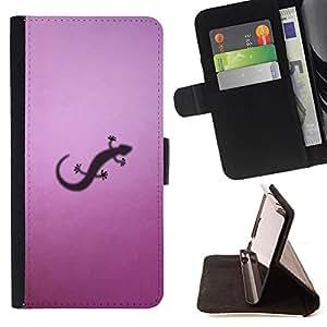 Jordan Colourful Shop - lizzard small purple art shadow reptile drawing For Samsung ALPHA G850 - < Leather Case Absorci????n cubierta de la caja de alto impacto > -