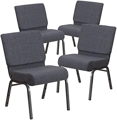 Flash Furniture 4 Pk. HERCULES Series 21 W Church Chair in Dark Gray Fabric – Silver Vein Frame