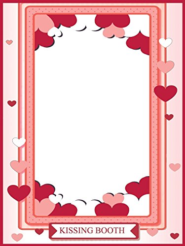 Custom I Love You kissing booth Party Photo Booth Prop - sizes 36x24, 48x36; Personalized Love selfie prop, Kissing photo booth, Heart Frame, Home Decorations, Handmade Party Supply Photo Booth Frame]()
