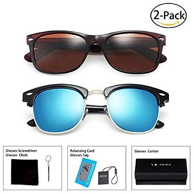 7e8f5726ee Amazon.com  FEIDU Retro Polarized Clubmaster Sunglasses for Men Half Metal  Women FD3030Brown Blue(2 Pack)  Jewelry