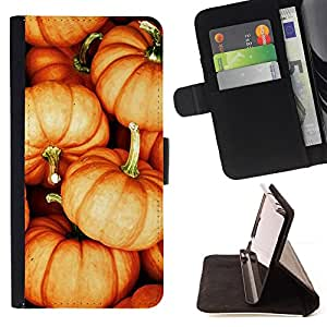 BullDog Case - FOR/Sony Xperia m55w Z3 Compact Mini / - / pumpkin Halloween orange fall autumn /- Monedero de cuero de la PU Llevar cubierta de la caja con el ID Credit Card Slots Flip funda de cuer