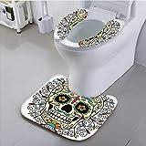 aolankaili Toilet seat Cover Decor Catrina Calavera Featured Figure Ornaments Macabre Remember The Dead Multicolor Soft Non-Slip Water