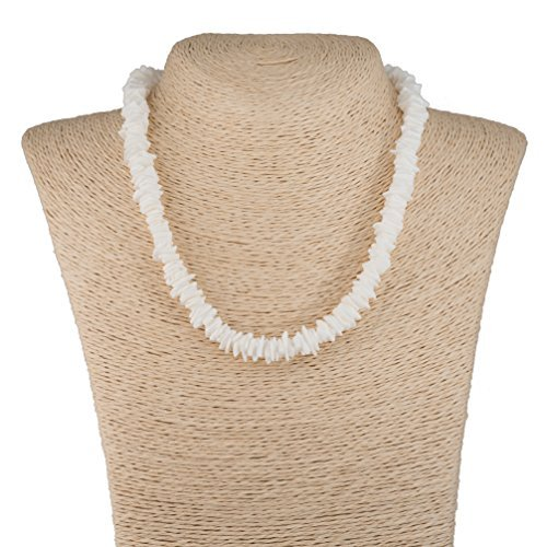 White Necklace Surfer - BlueRica Puka Chip Shell Beads Necklace (16 Inches)