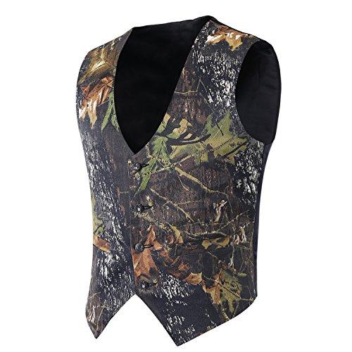 - iLovewedding Mens Camouflage Vests for Wedding Groom Camo Prom Vest (XX-Large, Dark Camo)