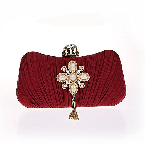 Evening Frame Evening Red Satin Design Pearl Women's Purses Metal For With Wedding ELEOPTION Elegant Clutch Party Tassel Cocktail URaFcapqv
