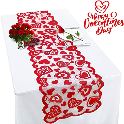 Valentines Table Runner Red Heart Print Valentines Day Decorations 1372 Inch Lace Love Table Runner for Home Wedding Party/St Patrick's Day/Thanksgiving/Mother's Day/Valentines Day Table Decorations