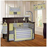 BabyFad Elephant Chevron Yellow 10 Piece Baby Crib Bedding Set
