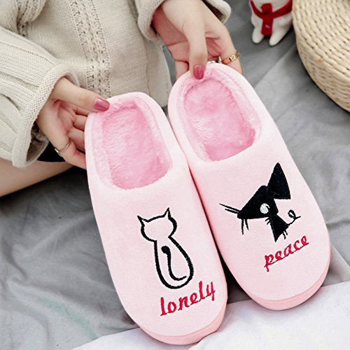 Slippers for Women, Cats and Mouse Pattern Fleece Anti-Skid Indoor Winter Slippers Shoes Gray