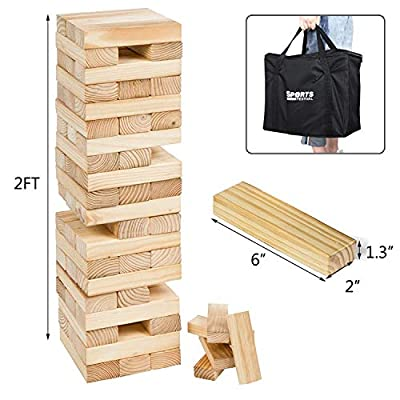 Sports Festival Giant Wooden Tumbling Timbers with Storage Bag, Hardwood Block Stacking Game for Yard Games: Toys & Games