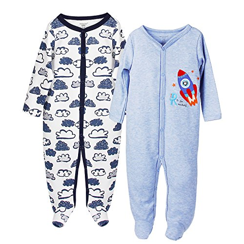 Future Founder Baby Boy Footed Pajamas, Soft Cotton Long Sleeve Jumpsuit, 2 Pack, 9 month