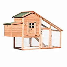 ALEKO® 75X26X46 Wooden Pet House Poultry Hutch, Rabbits Chickens Hen Coop Wooden Cage Roof Access