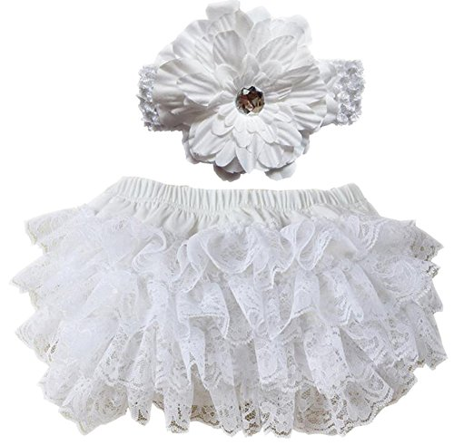 October Elf Baby Girl's Briefs Lace Ruffle Bloomer and Headband Diaper Cover (L(12-24M), White)