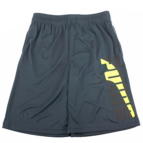 (Puma Boy's Contrast Charcoal Logo Trim Athletic Gym Shorts Sz: L)