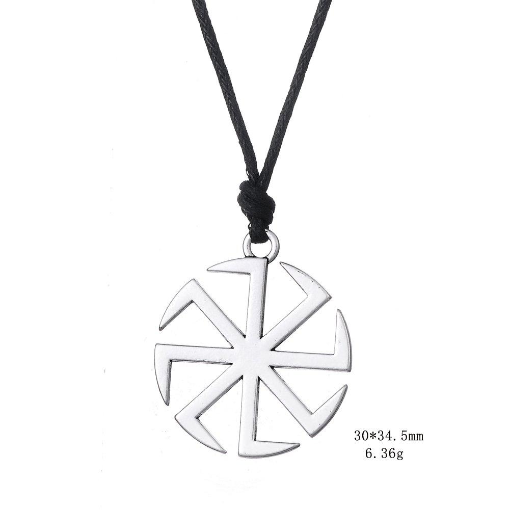 Fishhook Wicca Slavic Kolovrat Sun Wheel Symbol for Good Luck Talisman Pendant Necklace