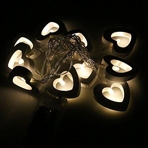 LEDMOMO LED-lichtketting met houten hart, werkt op batterijen, waterdicht, warm wit