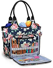 YARWO Yarn Storage Tote Bag, Knitting Bag for Yarn Skeins, Knitting Needles and Knitting Projects, Knitting and Crochet ToteBag with Accessories Pocket for Crochet Hooks or Other Knitting Supplies, Blue Peony (Bag Only Patented Design)