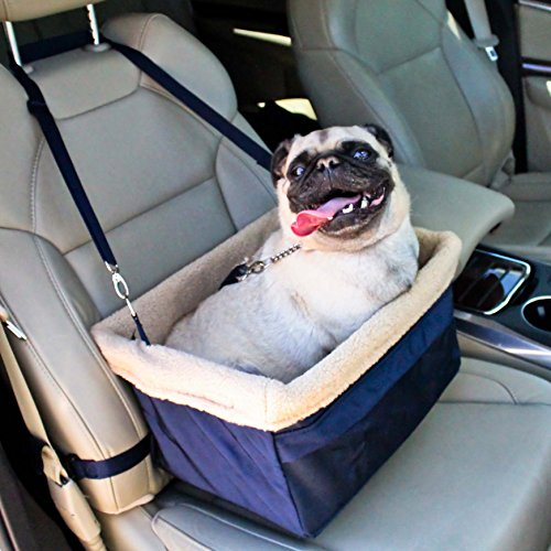 Deluxe Dog Booster Car Seat by Devoted Doggy Metal Frame Construction - Clip on Safety Leash - Zipper Storage Pocket – Perfect for Small and Medium Pets up to 20 lbs - Blue/Beige