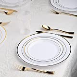 Kaya Collection - White and Gold Disposable Plastic Dinnerware Party Package - 60 Person Package - Includes Dinner Plates, Salad/Dessert Plates, Gold Cutlery and Tumblers