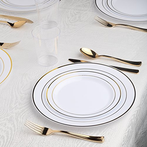 Kaya Collection - White and Gold Disposable Plastic Dinnerware Party Package - 60 Person Package - Includes Dinner Plates, Salad/Dessert Plates, Gold Cutlery and Tumblers by Kaya Collection
