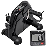 Water-chestnut Mini Exercise Bike Pedal Exerciser Arm and Leg Exerciser Under The Desk Bicycle with LCD Monitor & Adjustable Resistance for Seniors and Adult, Black