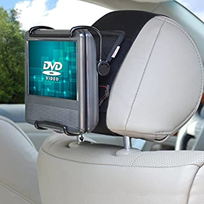 TFY Universal Car Headrest Mount Holder with Angle- Adjustable Holding Clamp for 7-10 Inch Swivel Screen Portable DVD Players, Black