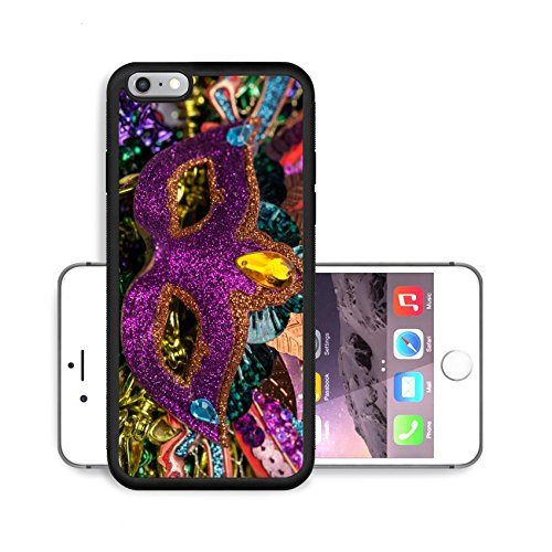 Luxlady Premium Apple iPhone 6 Plus iPhone 6S Plus Aluminum Backplate Bumper Snap Case IMAGE ID 26111610 Close up view of purple sequined Mardi Gras mask with colorful beads out focus in the (Carnavale Costumes)