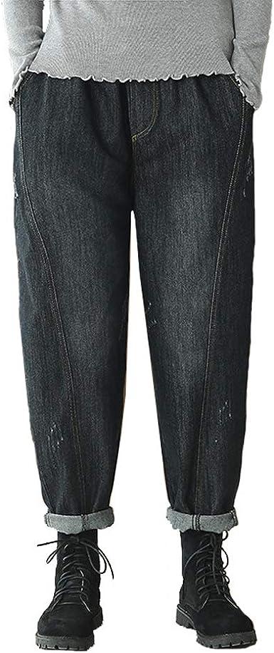 Baronhong Mujer Casual Pantalones De Haren De Mezclilla Suelta Pantalones Rasgados De Algodon Vintage Boyfriend Jeans Negro M Amazon Es Ropa Y Accesorios
