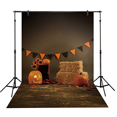 Funnytree 5X7ft Halloween Pumpkin Old Master Photography Backdrop Autumn Fall Hay Bale Flags Background Hallowmas Party Banner Children Newborn Baby Portrait Photo Booth Studio Props -