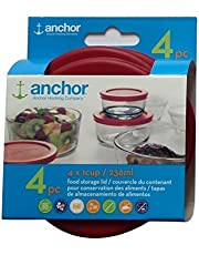 Anchor Hocking Food Storage Replacement Lid 1 Cup/236 ml, set of 4, red round