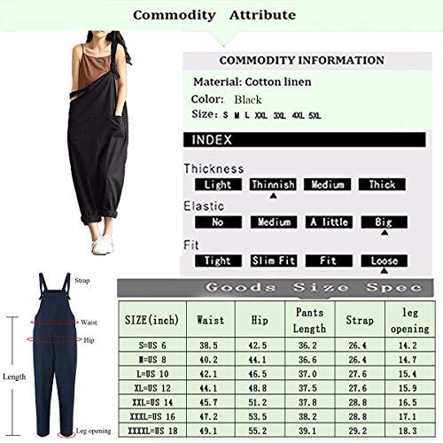 072162481cf Lncropo Women Large Plus Size Baggy Linen Overalls Casual Wide Leg Pants  Sleeveless Rompers Jumpsuit Vintage