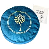 MV Joie Zafu Yoga Meditation Cushion Filled with Buckwheat Hulls & Charcoal Packs | Yoga Pillow in Soft Velvet/Suede; Embroid