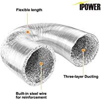 iPower GLDUCT4X8C Non-Insulated Ducting Aluminum Foil Vent with 2 Clamps