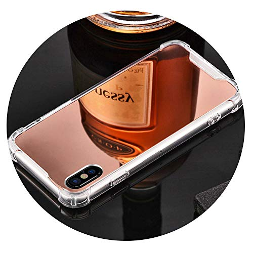 (Plated Mirror Soft Shell Phone Case for iPhone7 8 6 Phone Case for iPhone 6S 6Plus 7Plus 8Plus Drop TPU Soft Phone Case,Rose Gold,iPhone7Plus or 8P)