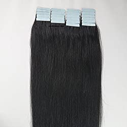18 Inches 20 Pcs/pack Real Tape Skin Weft PU Human Hair Extensions 01 jet black 40g/pack