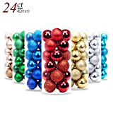 Image of Yoland 24ct Barrel Plating Multicolor Christmas Ball Ornaments (40mm/1.57'' in) (Red)
