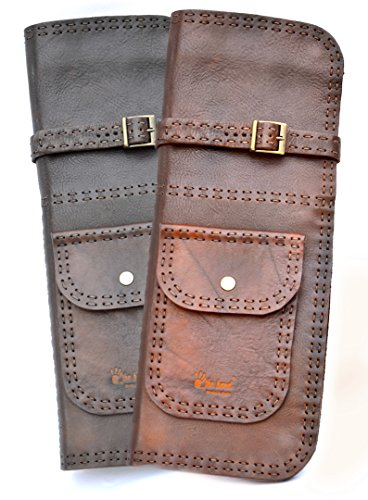 Deluxe Handmade Leather Drum Stick Bag (Brown) ()