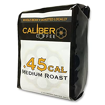 .45 Cal Smooth Roasted Coffee Beans Strong on Flavor High in Caliber Caffeine Rich 4oz Sampler Bag