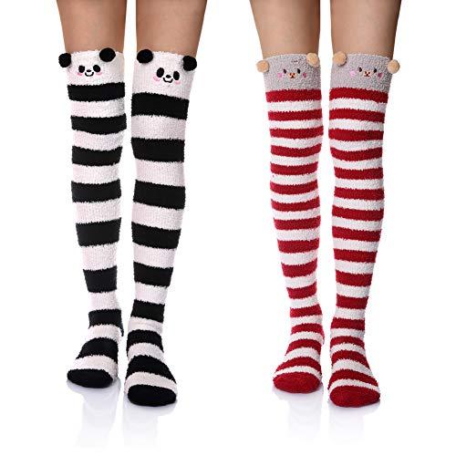 DoSmart Womens Soft Warm Coral Velvet Knee High Stockings Fuzzy Socks for Christmas Gift (Panda&Pig)