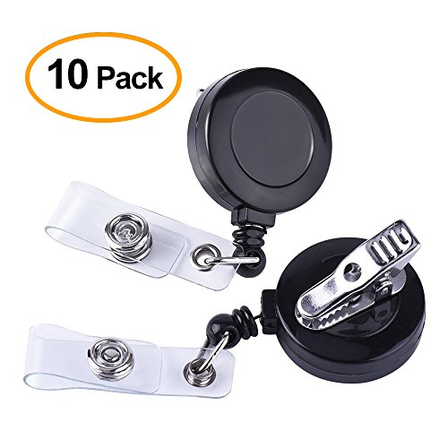 Kuuqa Retractable Badge Reel with Alligator Clip for Key Cards and ID Cards (10 Pack)