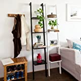 Haotian Modern Leaning ladder book shelf made of wood with four floors, bookcase, wall shelf, 33cm(12.99in)x180cm(70.87in) FRG15-SCH,black