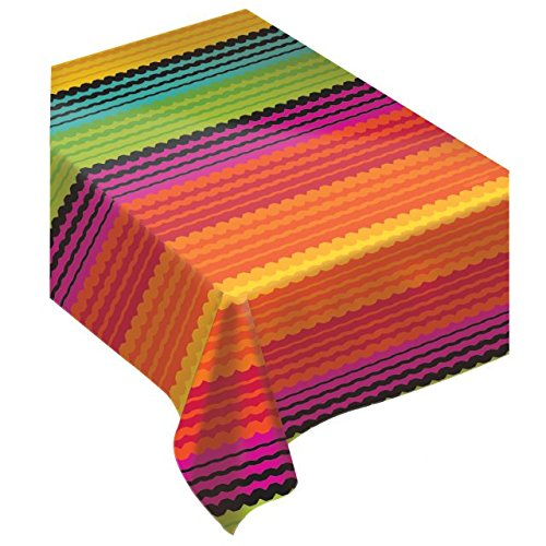 Amscan Festive Cinco de Mayo Party Flannel-Backed Vinyl Table Cover, Multi Color, 52 x 90
